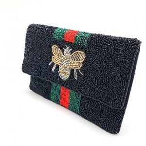 My Bag Lady Online Bags - Beaded Bee Clutch Handbag